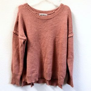 Wildfox Dusty Rose Distressed Sweater Pullover